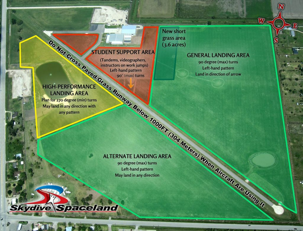 Skydive Spaceland Houston Landing Areas